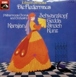 JOHANN STRAUSS DIE FLEDERMAUS (THE BAT) PHILHARMONIA ORCHESTRA AND CHORUS conducted by HERBERT VON KARAJAN 2 LP SET, Płyta winylowa