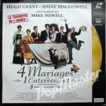 Four Weddings and a Funeral Hugh Grant, Andie MacDowell (1994) [631 768-1] 4 mariages et 1 enterrement Laser disc