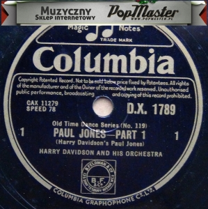 Paul Jones Harry Davidson And His Orchestra Old Time Dances D.X.1789