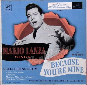 Mario Lanza Sings Selections From Because You're Mine  ERA-51 Opera Winyle