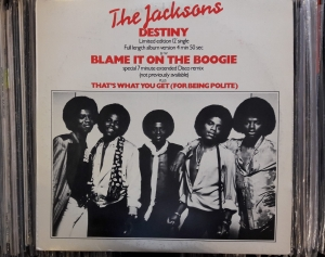 The Jacksons Featuring Michael ‎– Blame It On The Boogie / Destiny ,Epic ‎– S EPC  12 6983  A2 / B3 Vinyl, 12""