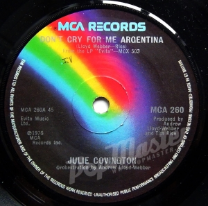 "Julie Covington  Don't cry for me Argentina MCA 260 7"" Musical Winyle"
