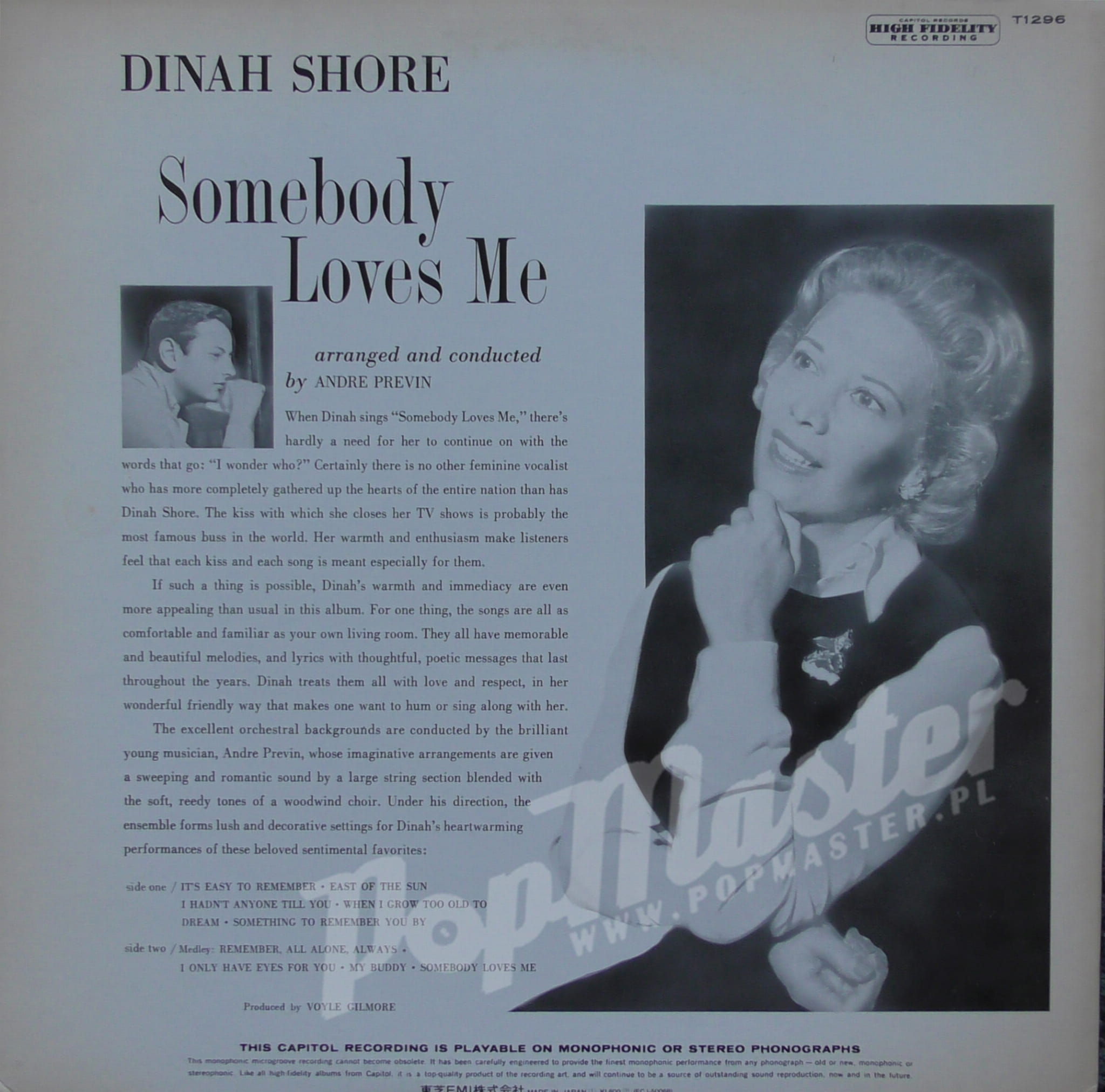 Dinah Shore Somebody Loves Me Orchestra Conducted By Andre