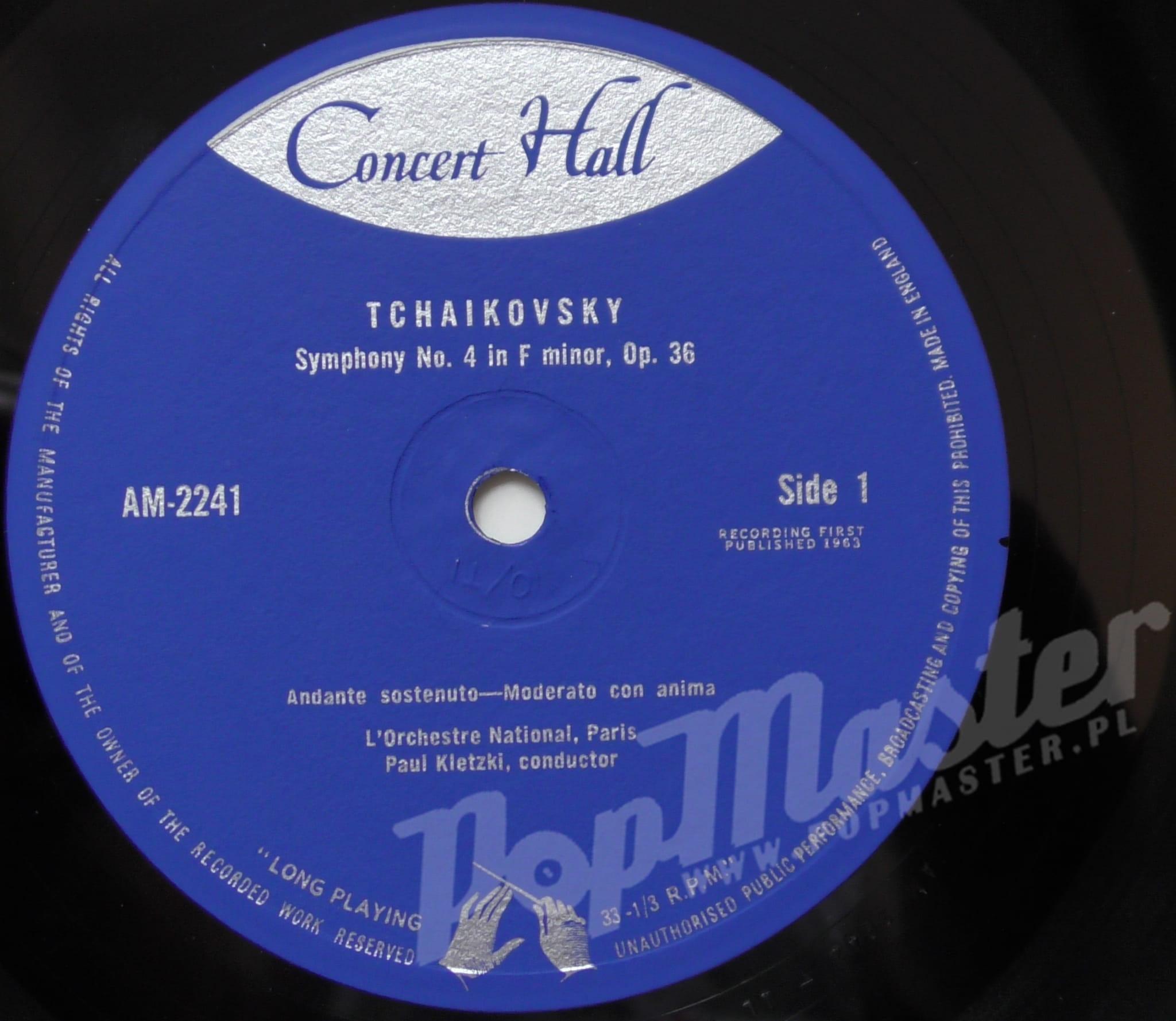 Tchaikovsky Symphony No  4 L'Orchestre National Paris Paul Kletzki  Conductor AM 2241 mono Classical Music Vinyl Records