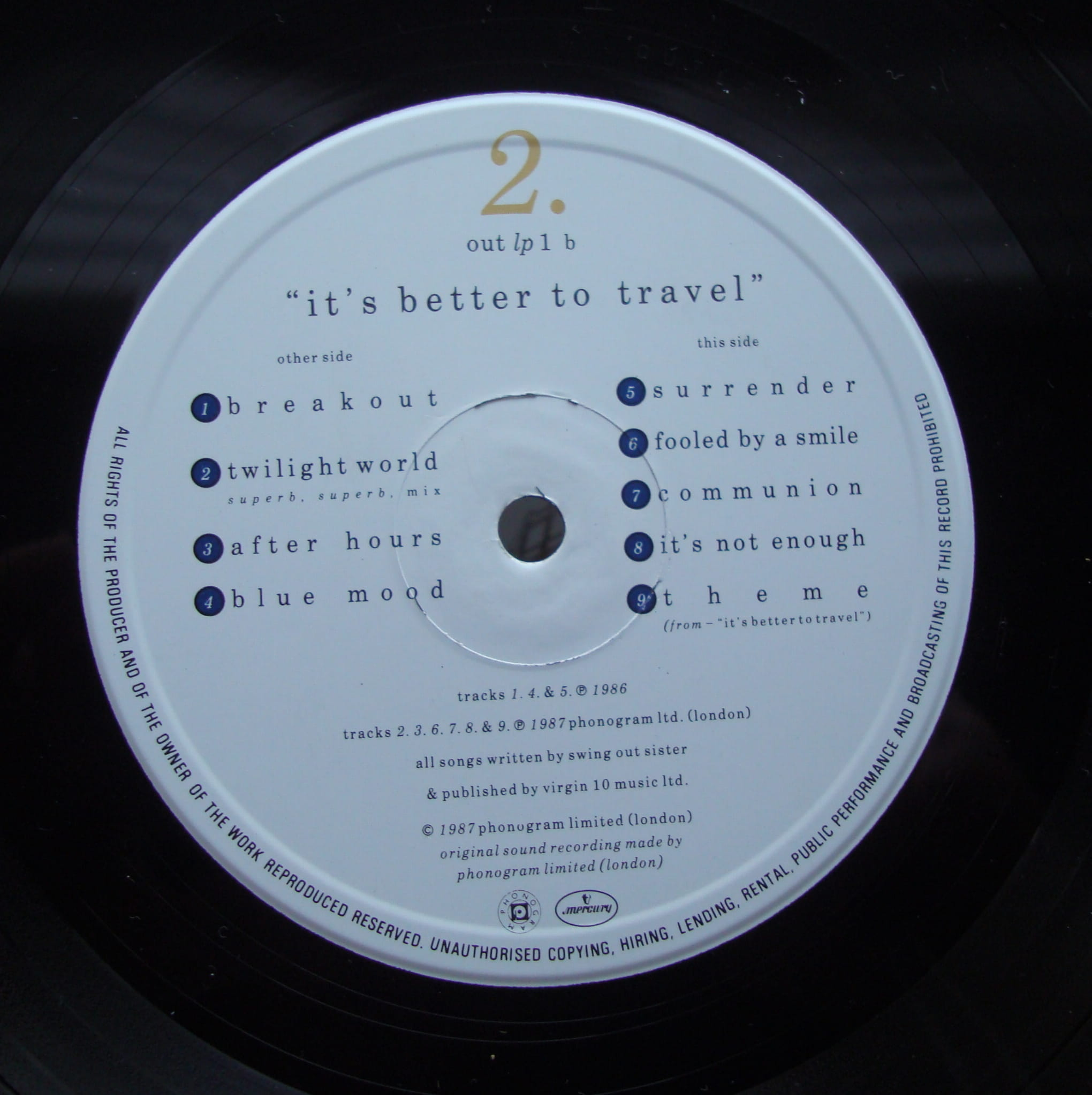 Swing Out Sister – It's Better To Travel LP 1 Electronic, Pop loja de  discos, magasin de disques, tienda de discos