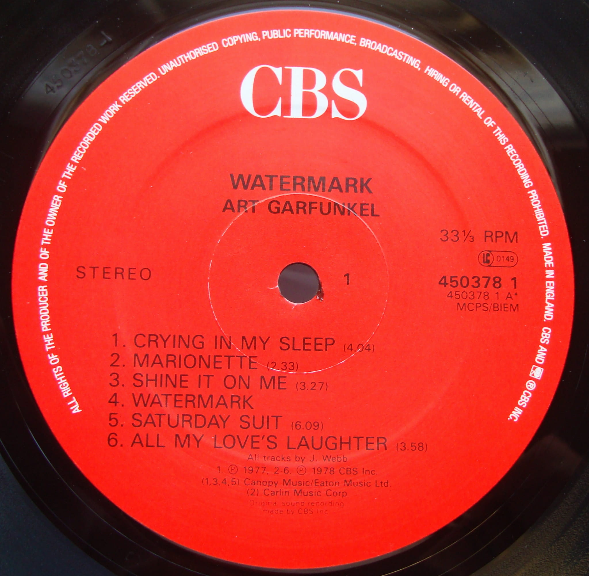 Art Garfunkel Watermark 450378 1 Promo Copy Vinyl