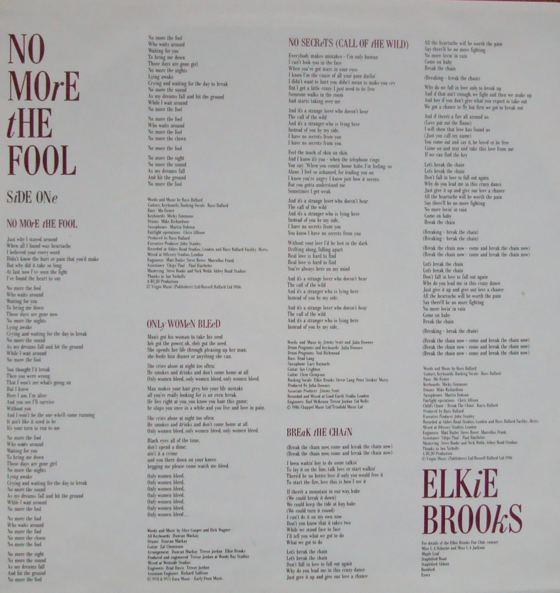 Elkie Brooks No More The Fool Lma1 Funk Soul Pop
