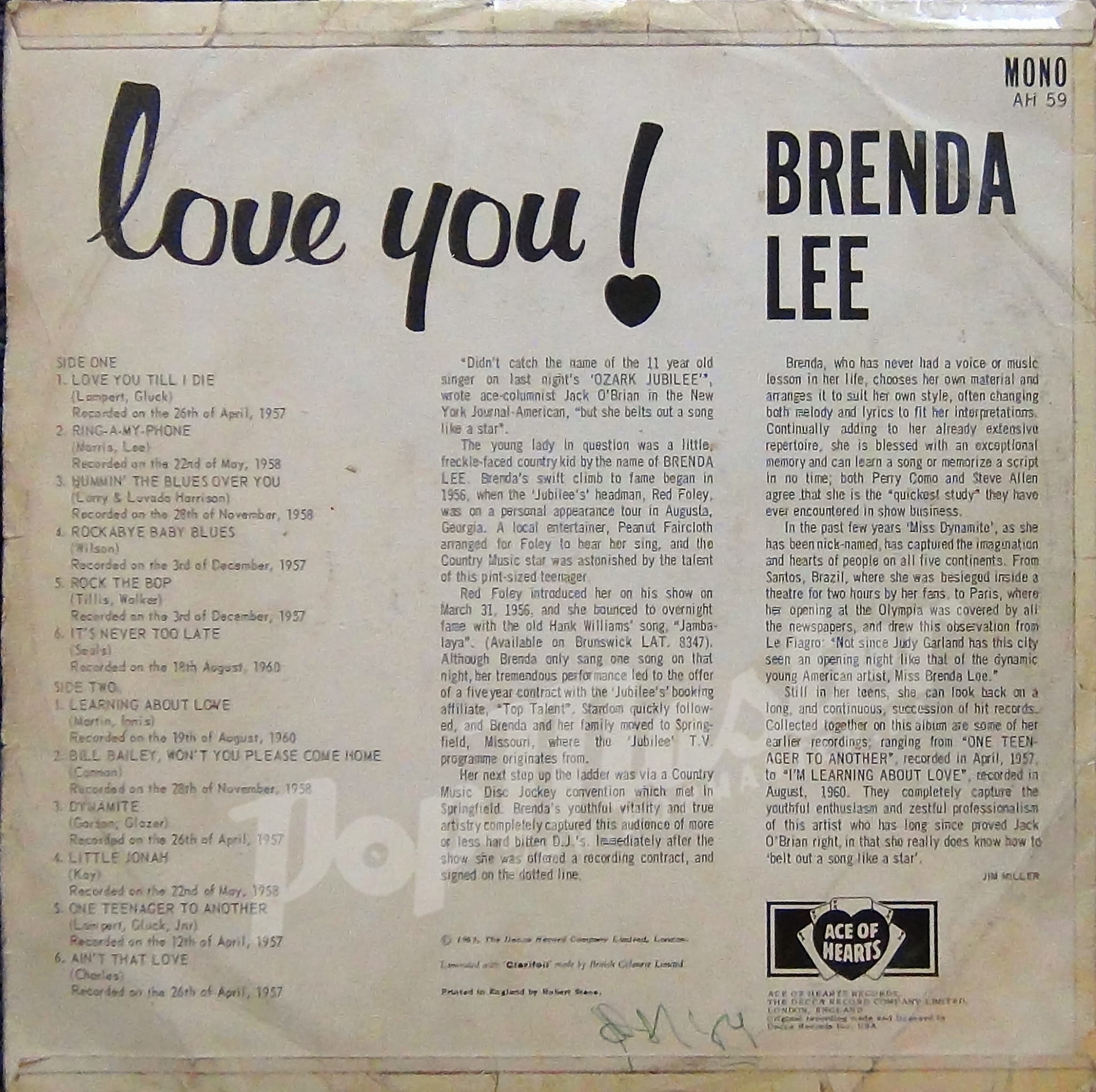 Brenda Lee Love You Ah 59 Bwk 117 1b Bwk 118 1b