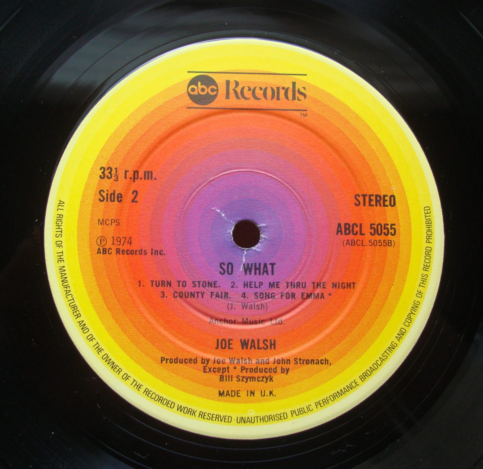 Joe Walsh ‎– So What ABCL 5055 Rock , Blues Rock, Classic Rock Vinyl Records