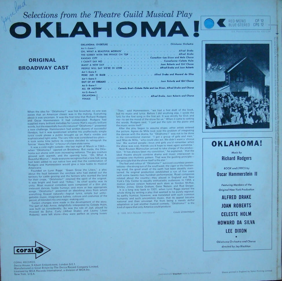 Rodgers And Hammerstein – Oklahoma! Stereo CPS 12 Vinyl